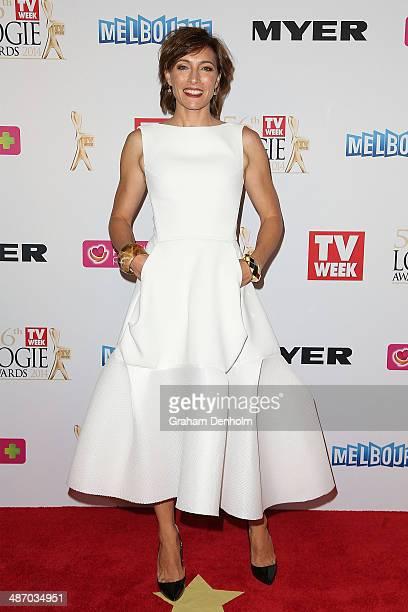 Claudia Karvan arrives at the 2014 Logie Awards at Crown Palladium on April 27 2014 in Melbourne Australia