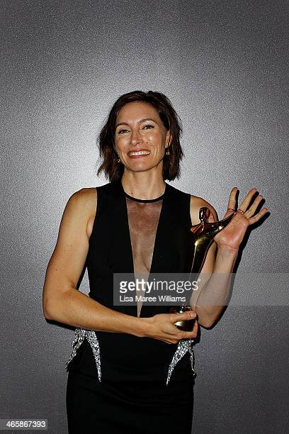 Claudia Karvan poses for a photograph with her award for Best Lead Actress in a Television Drama during the 3rd Annual AACTA Awards Ceremony at The...
