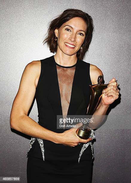 Claudia Karvan poses with her award for Best Lead Actress in a Television Drama during the 3rd Annual AACTA Awards Ceremony at The Star on January 30...