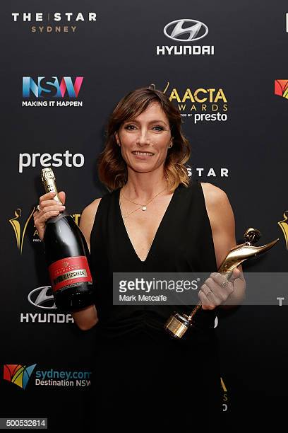 Claudia Karvan poses with the AACTA Subscription Television 20th Anniversary Award for Best Drama during the 5th AACTA Awards Presented by Presto at...