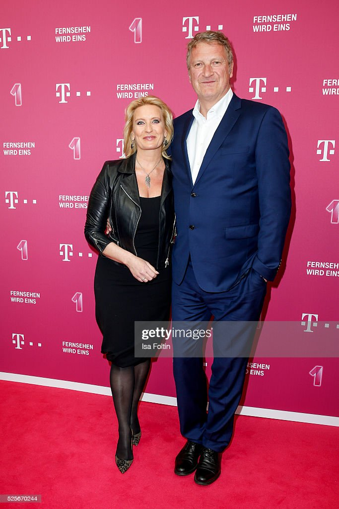 Claudia Kleinert and Michael Souvignier attend the Telekom Entertain TV Night at Hotel Zoo on April 28, 2016 in Berlin, Germany.