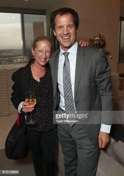 Claudia Lewis and Doug MacLaren attend Stephen Galloway's 'Leading Lady Sherry Lansing' Book Party at ICM Partners on April 25 2017 in Los Angeles...