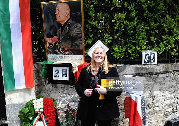 Claudia Lingeri Mayor of Mezzegra attends a commemoration ceremony for the death of Italian dictator Benito Mussolini and his mistress Claretta...