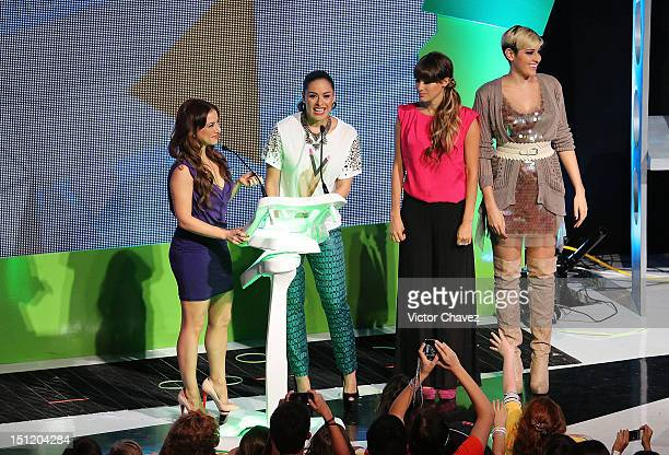 Claudia Lizaldi Galilea Montijo and winners of the prosocial award Ashley Perez and Hanna of HaAsh speak onstage at the Kids Choice Awards Mexico...