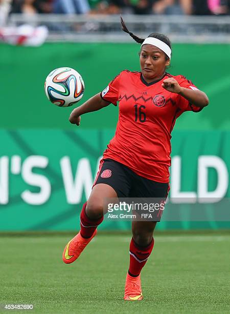 Claudia Lopez of Mexico controles the ball during the FIFA U20 Women's World Cup Canada 2014 group C match between England and Mexico at Moncton...