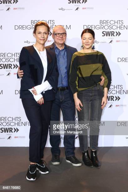 Claudia Michelsen Joachim Krol and Hannah Herzsprung attend the photo call for the film 'Brechts Dreigroschenfilm' on February 28 2017 in Berlin...