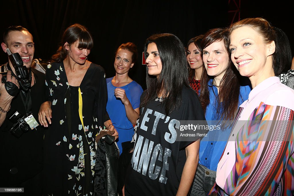 Claudia Michelsen, Leyla Piedayesh, Nadine Warmuth, Fritzi Haberland and Heike Makatsch backstage after the Lala Berlin Autumn/Winter 2013/14 fashion show during Mercedes-Benz Fashion Week Berlin at Brandenburg Gate on January 16, 2013 in Berlin, Germany.