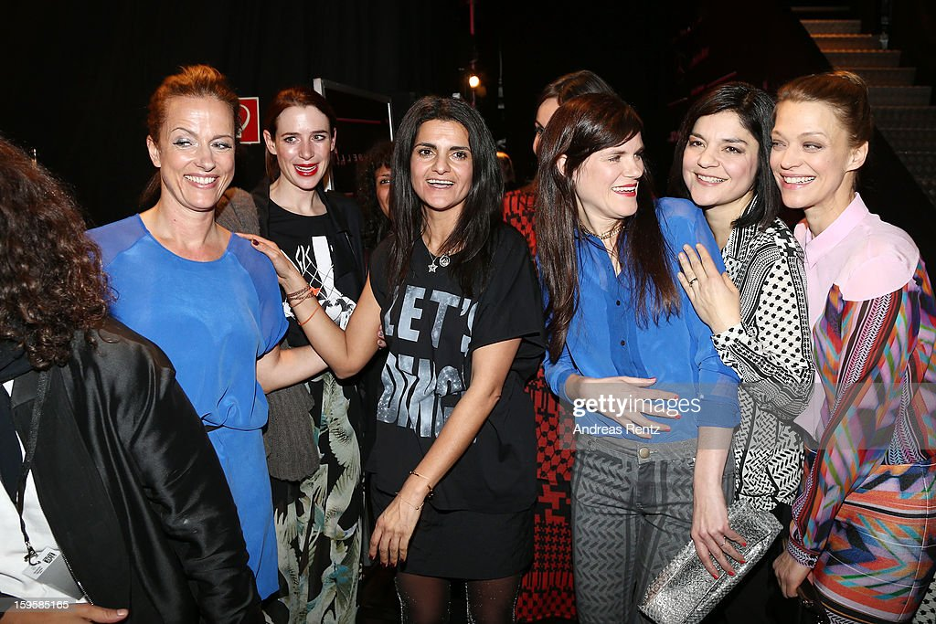 Claudia Michelsen, Leyla Piedayesh, Nora von Waldstaetten, Jasmin Tabatabai and Heike Makatsch pose backstage after the Lala Berlin Autumn/Winter 2013/14 fashion show during Mercedes-Benz Fashion Week Berlin at Brandenburg Gate on January 16, 2013 in Berlin, Germany.