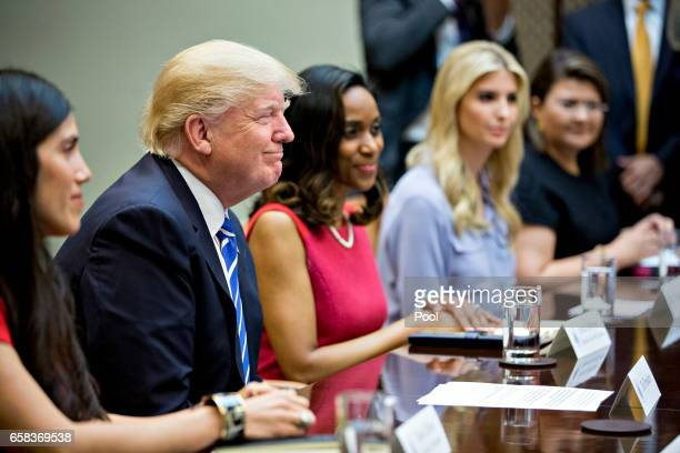 Claudia Mirza cofounder and chief executive officer of Akorbi from right Ivanka Trump daughter of US President Donald Trump Jessica Johnson president...