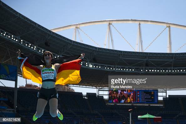 Claudia Nicoleitzik of Germany celebrates after arriving third at the Womens 200m T36 Final during day 6 of the Rio 2016 Paralympic Games at the...