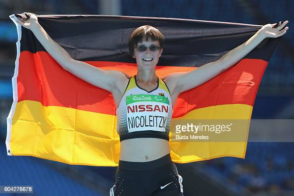 Claudia Nicoleitzik of Germany celebrates the third place after run the Women's 200 meter T36 final at Olympic Stadium during day 6 of the Rio 2016...