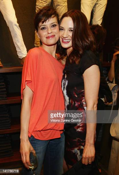 Claudia Pandolfi and Asia Argento attend the 'Diesel Together With Ducati' cocktail party on March 22 2012 in Rome Italy