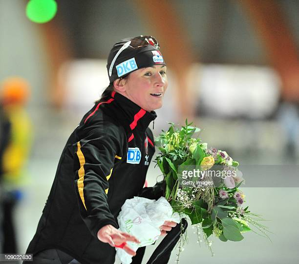 Claudia Pechstein celebrates after the international competition on February 12 2011 in Erfurt Germany Pechstein received a twoyear ban by the...