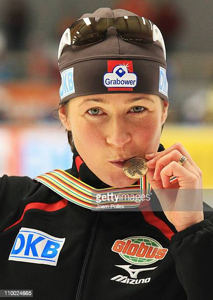 Claudia Pechstein of Germany celebrates after 3rd place after the 5000m heats during Day 3 of the Essent ISU Speed Skating World Cup at the Max...