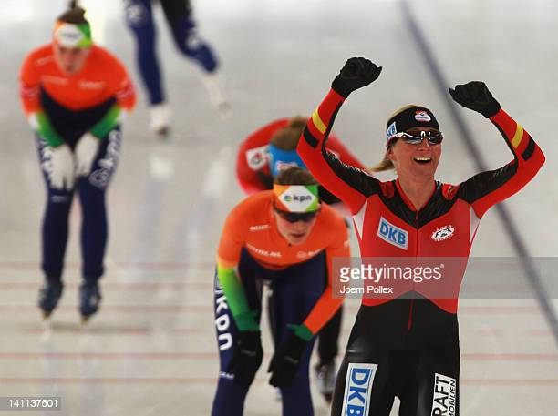 Claudia Pechstein of Germany celebrates after winning the Womens Mass start race during Day 3 of the Essent ISU Speed Skating World Cup at Sportforum...