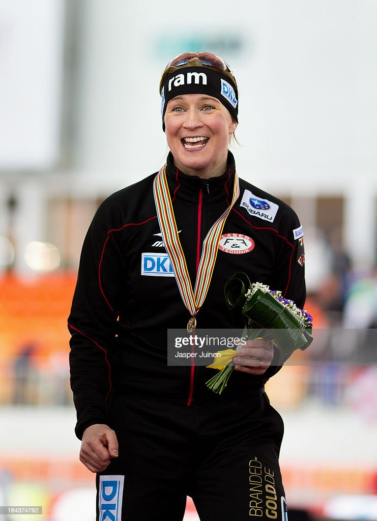 Claudia Pechstein of Germany celebrates on the podium with her bronze medal after the 5000m race on day three of the Essent ISU World Single Distances Speed Skating Championships at the Adler Arena Skating Center on March 23, 2013 in Sochi, Russia.