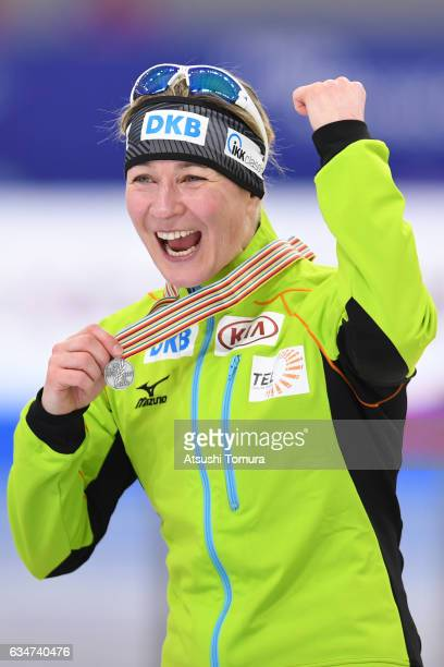 Claudia Pechstein of Germany celebrates with her medal during the ISU World Single Distances Speed Skating Championships Gangneung Test Event For...