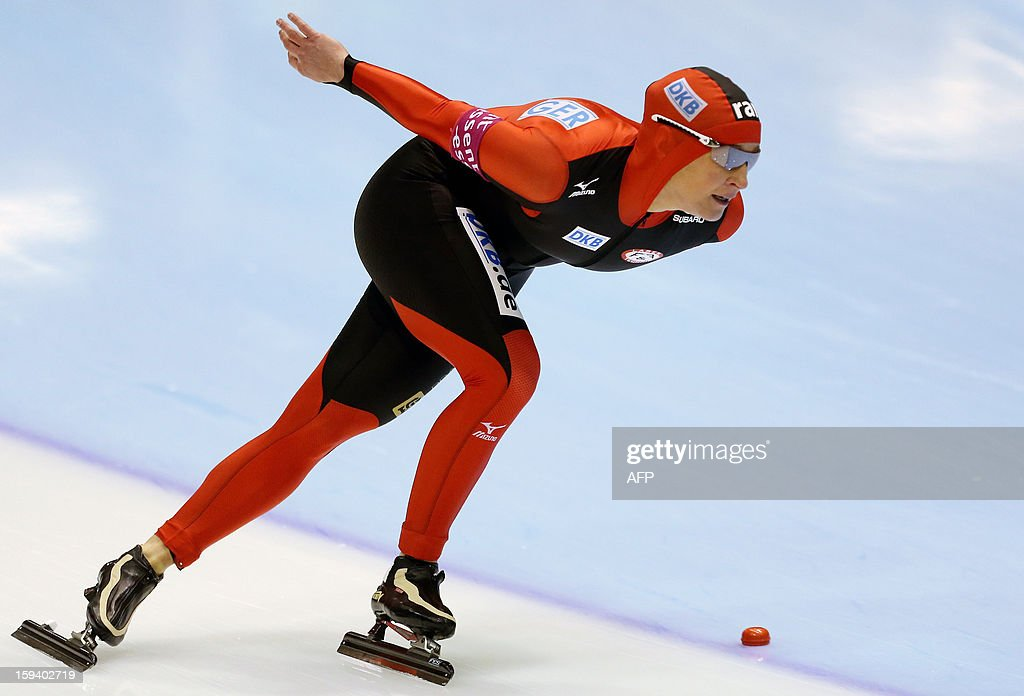 Claudia Pechstein of Germany competes during the women's 1500 meter race at the European Speed Skating Championships in Heerenveen, The Netherlands, on January 13, 2013.