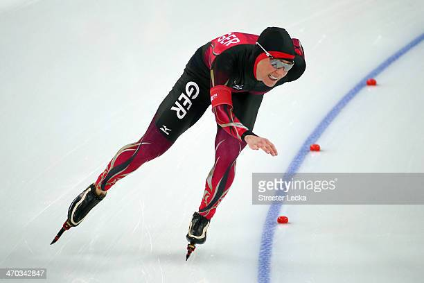 Claudia Pechstein of Germany competes during the Women's 5000m Speed Skating event on day twelve of the Sochi 2014 Winter Olympics at at Adler Arena...