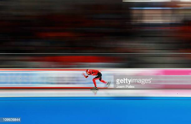 Claudia Pechstein of Germany competes in the 3000m heats during Day 1 of the Essent ISU Speed Skating World Cup at the Max Aicher Arena on March 10...