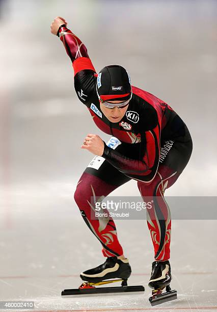 Claudia Pechstein of Germany competes in the women's 3000m Division A race during day one of the Essent ISU World Cup Speed Skating on December 5...