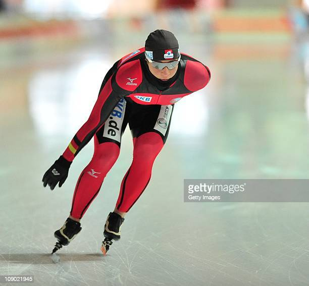 Claudia Pechstein of Germany in action before the ladies 3000m race on February 12 2011 in Erfurt Germany Pechstein received a twoyear ban by the...