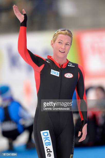Claudia Pechstein of Germany reacts after the Women's 3000m Division A race during day two of the ISU Speed Skating World Cup at Max Aicher Arena on...