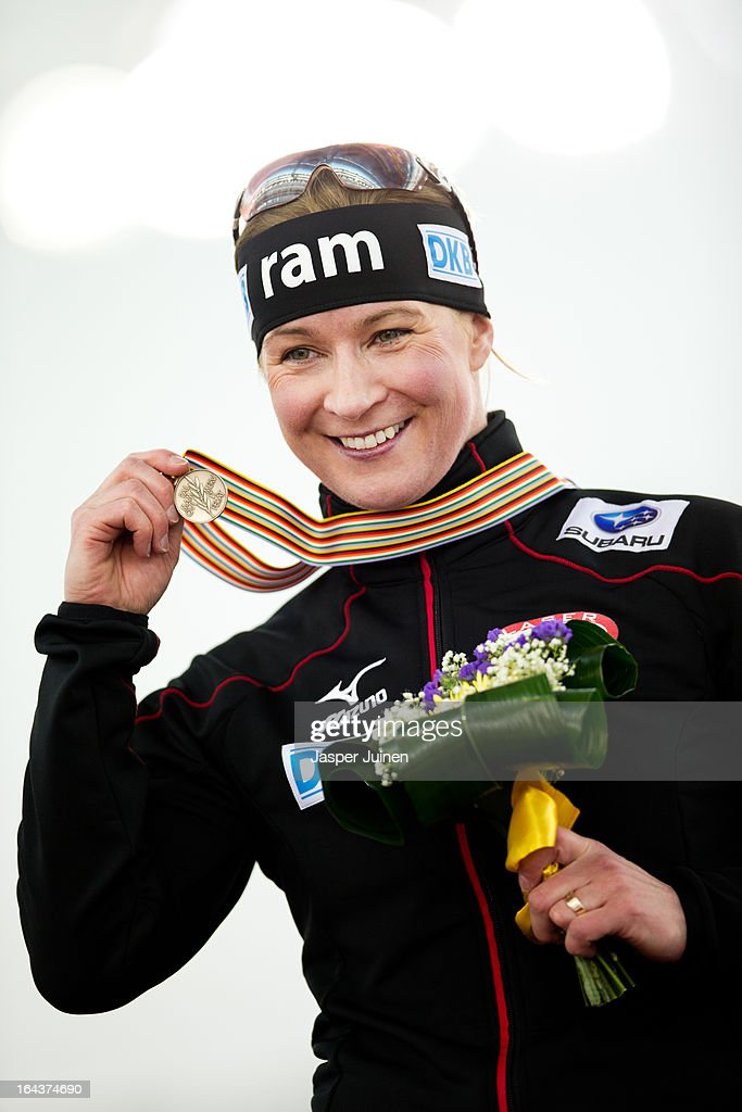 Claudia Pechstein of Germany shows her bronze medal after the 5000m race on day three of the Essent ISU World Single Distances Speed Skating Championships at the Adler Arena Skating Center on March 23, 2013 in Sochi, Russia.