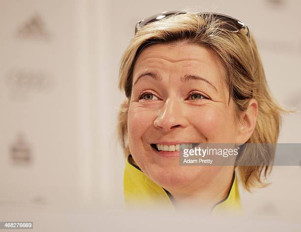 Claudia Pechstein of Germany speaks to the media at a press conference at German House on February 10 2014 in Sochi Russia
