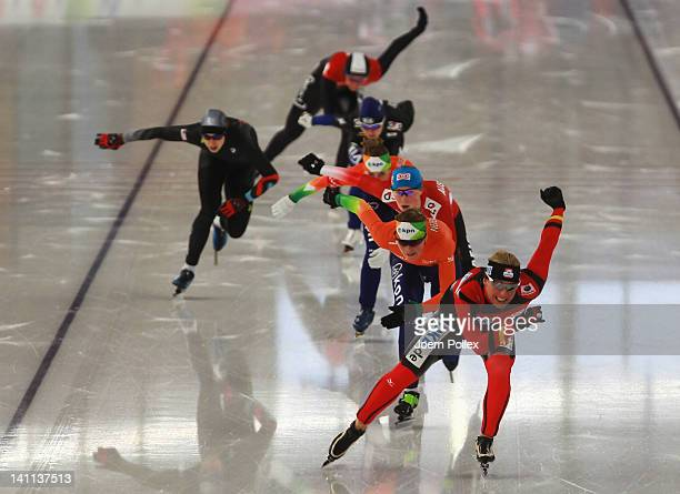 Claudia Pechstein of Germanycompetes in the Womens Mass start race during Day 3 of the Essent ISU Speed Skating World Cup at Sportforum Berlin on...