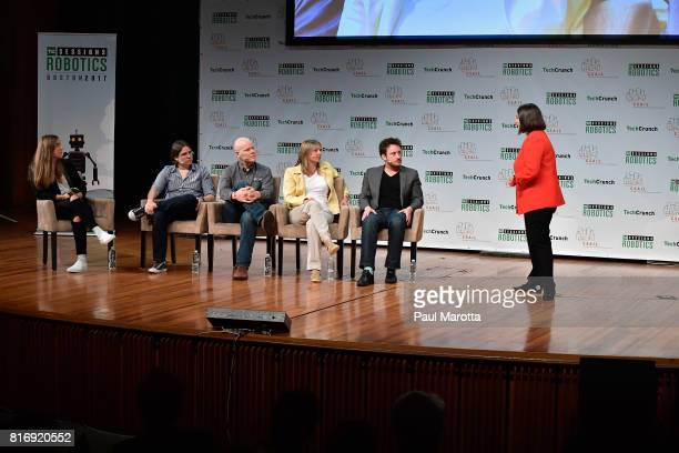 Claudia Perez D'Arpino competes at a PitchOff Session that includes judges Jeremy Conrad Helen Greiner Daniel Theobold and Melonee Wise at the...