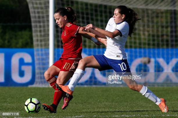 Claudia Pina of Spain and Andreia Faria of Portugal during the UEFA U17 Women's Championship Qualifier match between Spain and Portugal at Cidade do...