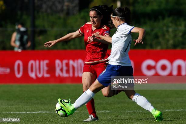 Claudia Pina of Spain and Brbara Lopes of Portugal during the UEFA U17 Women's Championship Qualifier match between Spain and Portugal at Cidade do...