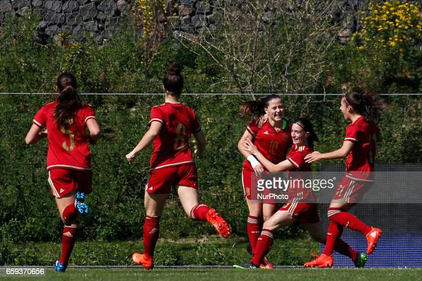 Claudia Pina of Spain celebrates after scores the opening goal during the UEFA U17 Women's Championship Qualifier match between Spain and Portugal at...
