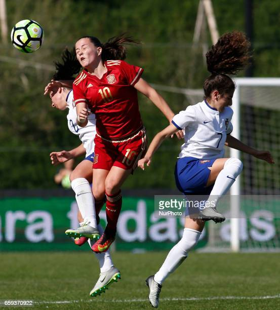 Claudia Pina of Spain during and Joana Martins of Portugal the UEFA U17 Women's Championship Qualifier match between Spain and Portugal at Cidade do...