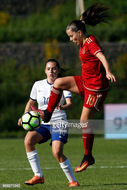 Claudia Pina of Spain during the UEFA U17 Women's Championship Qualifier match between Spain and Portugal at Cidade do Futebol stadium on March 28...
