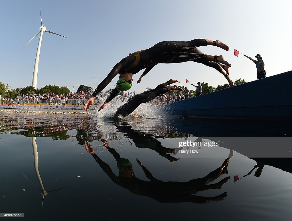 Claudia Rivas of Mexico dives into the water at the start of the women's triathlon at Ontario Place during the during the 2015 Pan American Games for the 2015 Pan American Games on July 11, 2015 in Toronto, Canada.