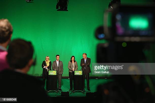 Claudia Roth and Cem Oezdemir leaders of the German Greens Party and Greens Party lead candidates Katrin GoeringEckardt and Juergen Trittin speak to...
