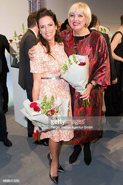 Claudia Roth and Christine Neubauer attend the Deutscher Hoerfilmpreis 2015 at Deutsche Bank on March 17 2015 in Berlin Germany