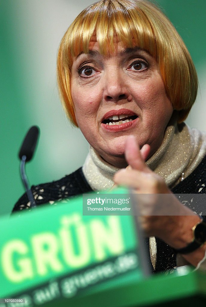 Claudia Roth chairman of the Green Party speaks at the Greens Party national convention on November 20 2010 in Freiburg Germany The German Greens...