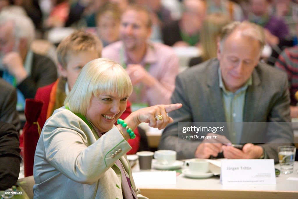 Claudia Roth, chairwoman of German Greens Party (Buendnis 90/Die Gruenen) and Juergen Trittin, leading candidate for the election 2013, during the Greens Party federal convention at Hannover Congress Centrum on November 17, 2012 in Hanover, Germany. Germany faces federal elections in 2013 and the Greens Party, which is Germany's third most popular party, could well become a government coalition partner.