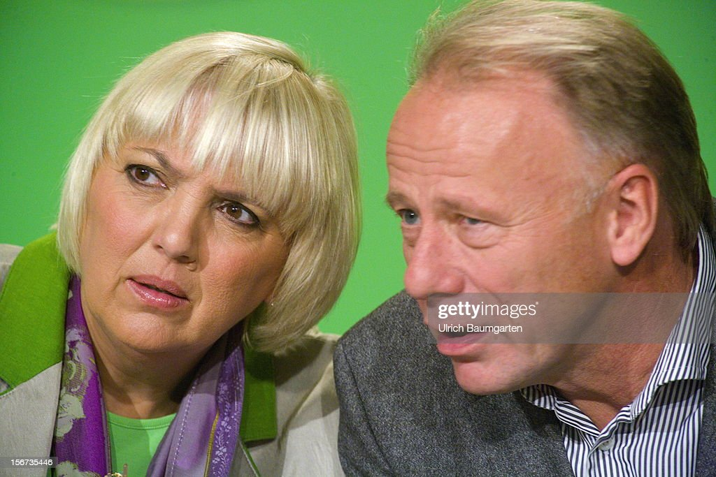 Claudia Roth, chairwoman of German Greens Party (Buendnis 90/Die Gruenen), and Juergen Trittin, leading candidate for the election 2013, during the Greens Party federal convention at Hannover Congress Centrum on November 17, 2012 in Hanover, Germany. Germany faces federal elections in 2013 and the Greens Party, which is Germany's third most popular party, could well become a government coalition partner.