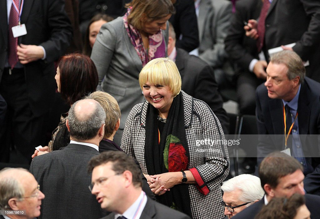 Claudia Roth, co-chair of the German Green party, arrives for a joint session of the German Bundestag and French Assemblee Nationale parliaments in the Reichstag building during the 50th anniversary celebration of the Elysee Treaty on January 22, 2013 in Berlin, Germany. The treaty, concluded in 1963 by Charles de Gaulle and Konrad Adenauer in the Elysee Palace in Paris, set a new tone of reconciliation between France and Germany, and called for consultations between the two countries to come to a common stance on policies affecting the most important partners in Europe as well as the rest of the region. Since its establishment, the document for improved bilateral relations has been seen by many as the driving force behind European integration.