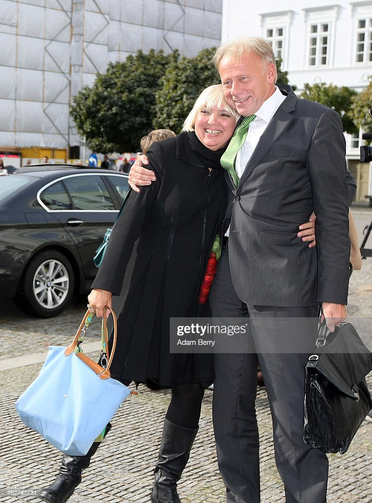 Claudia Roth coleader of the German Green Party and Juergen Trittin the party's parliamentary group coleader arrive for the celebration of the 70th...