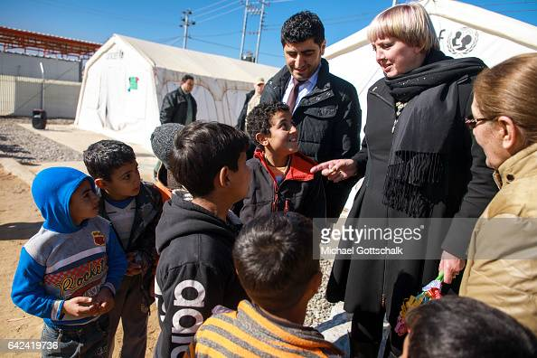 Claudia Roth Deputy President of German Parliament Bundestag next to children at an Unicef project during a visit to Debaga refugee camp for refugees...