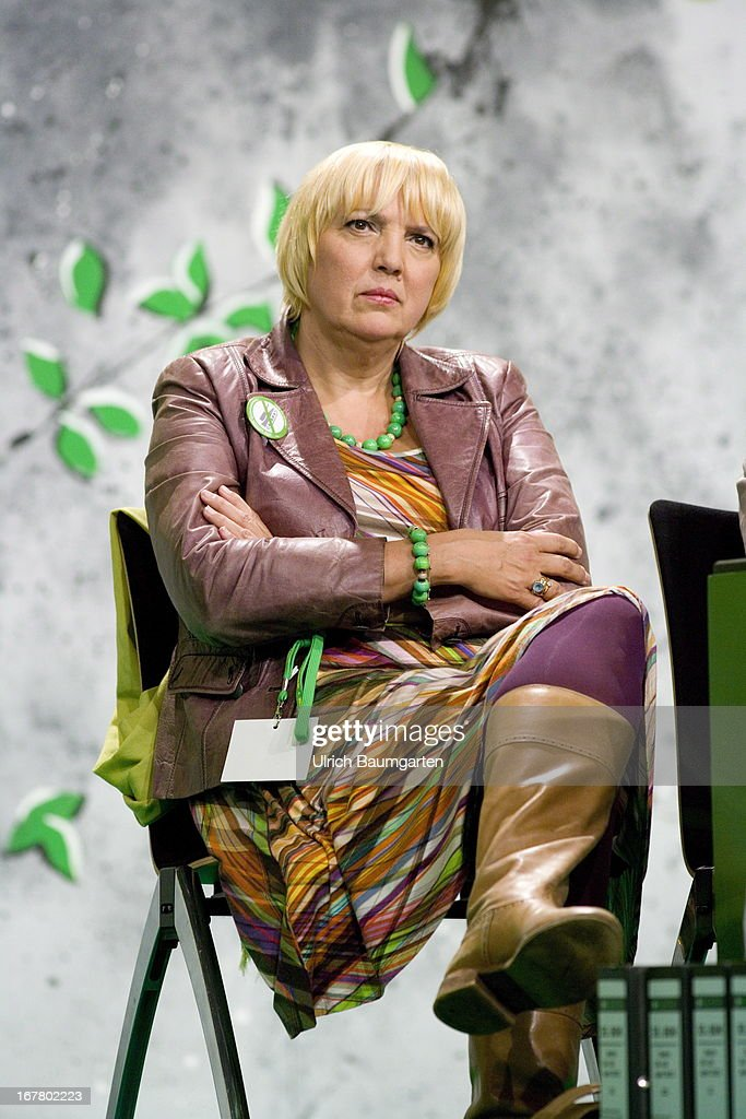 Claudia Roth Federal Party Chairwoman of Buendnis 90 / Die Gruenen during the German Greens Party party congress on April 26 2013 in Berlin Germany...