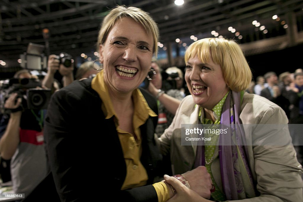 Claudia Roth the previous CoChairwoman of the German Greens Party congrats Simone Peter newelected one of the two coleaders of the German Greens...