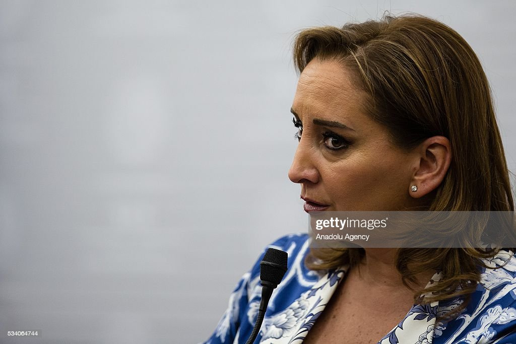 Claudia Ruiz Massieu, Secretary of Foreign Affairs of Mexico delivers a speech along with Federica Mogherini (not seen), High Representative of the EU for Foreign Affairs and Security Policy, in the Ministry of Foreing Affairs on May 24, 2016 in Mexico City, Mexico.