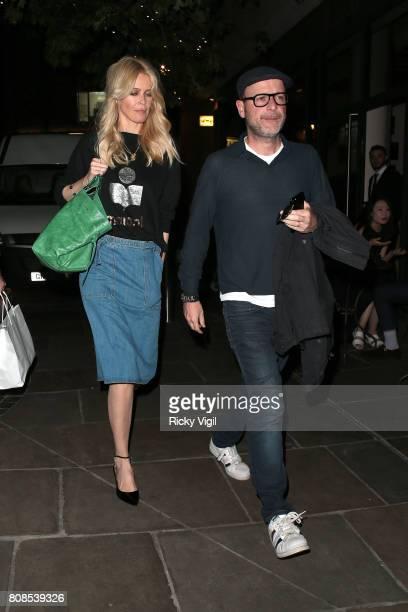 Claudia Schiffer and husband Matthew Vaughn seen on a dinner date at Nobu Berkeley St restaurant on July 4 2017 in London England