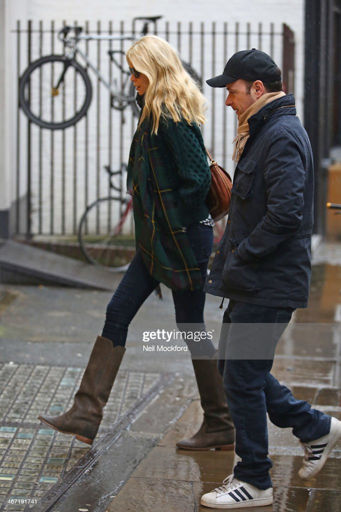 Claudia Schiffer and Matthew Vaughn seen together at an office in Soho February 6, 2014 in London, England.